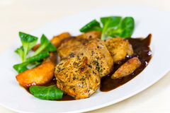 Veal Fillet- Tenderloin with Sauce and Salad Royalty Free Stock Image