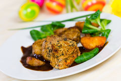 Veal Fillet- Tenderloin with Sauce and Salad stock photos