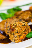 Veal Fillet- Tenderloin with Sauce and Salad royalty free stock photo
