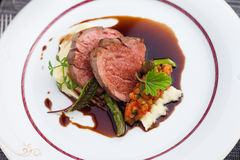 Veal fillet with vegetable ratatouille Royalty Free Stock Photos