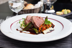 Veal fillet with vegetable ratatouille Royalty Free Stock Images