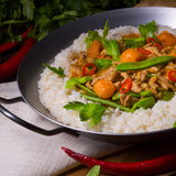 Veal Fricassee with rice Stock Photos