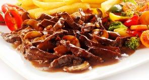 Veal in gravy ragout Stock Photo