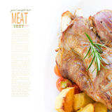 Veal knuckle with potatoes Royalty Free Stock Image