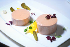 Veal liver terrine. With cornichons and pearl onions Stock Images