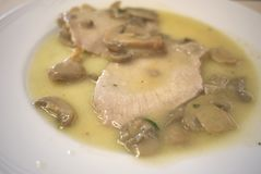 Veal meat with mushrooms Royalty Free Stock Photo