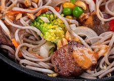 Veal meat with noodles Royalty Free Stock Photos