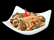 Veal meat piece with noodle Royalty Free Stock Images