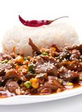 Veal meat slice vegetable and rice Royalty Free Stock Photo