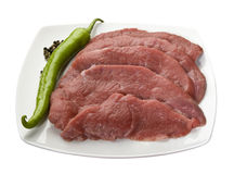 Veal meat slices for schnitzel. Raw veal meat slices for schnitzel Stock Photo