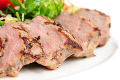 Veal Meat With Fresh Vegetable Salad Stock Image