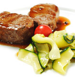 Veal Medallions with Zucchini Stock Photos