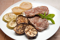 Veal Medallions with Zucchini,Eggplant Royalty Free Stock Image
