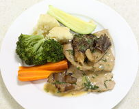 Veal and mushroom in cream sauce from above Royalty Free Stock Images