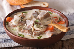 Veal with mushrooms in cream sauce in a bowl. horizontal Royalty Free Stock Photography