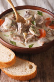 Veal with mushrooms in cream sauce in a bowl. Vertical Stock Image