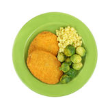 Veal Patties Brussels Sprouts Corn On Green Plate Stock Image