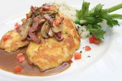 Veal Piccata With Risotto Rice Stock Image