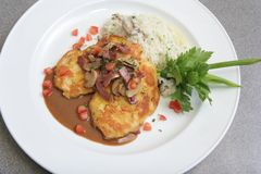 Veal Piccata With Risotto Rice Royalty Free Stock Photos