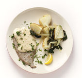 Veal with potatoes and chard from above Royalty Free Stock Photography