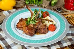 Veal ribs with Vegetables. royalty free stock images