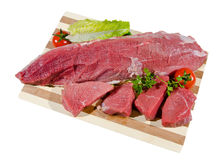 Veal roast. Raw beef meat ona cutting board Royalty Free Stock Photo