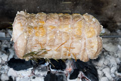 Veal roast on barbecue Royalty Free Stock Photography
