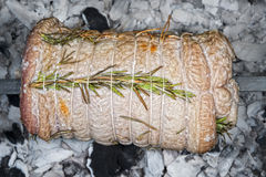 Veal roast on barbecue Royalty Free Stock Image