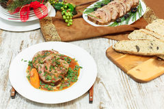 Veal Roulade. Holiday Meat Roulade Stock Photo