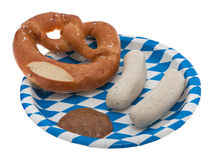 Veal sausage, pretzel and sweet mustard Royalty Free Stock Photos