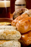 Veal sausage, Pretzels and Beer Stock Photos