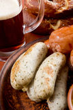 Veal sausage, Pretzels and Beer Stock Photo