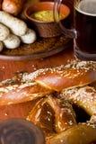 Veal sausage, Pretzels and Beer Stock Image