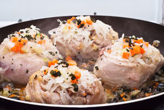 Veal shank cooking in pan Stock Photography