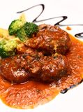 Veal shank served with special gravy Royalty Free Stock Photos