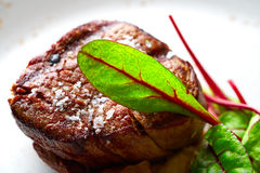 Veal sirloin, mashed potatoes chards and shallots Stock Image