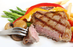Veal sirloin steak cut open horizontal royalty free stock photos