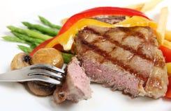Veal sirloin steak cut open horizontal Royalty Free Stock Photos