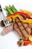 Veal sirloin steak cut open vertical Royalty Free Stock Photo
