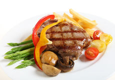 Veal sirloin steak meal horizontal Stock Images