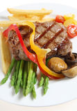 Veal sirloin steak meal vertical Stock Image