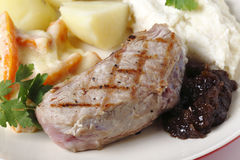 Veal steak with gourmet vegetables, stock photography