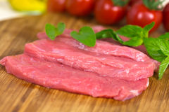 Veal Steak ,raw , close up royalty free stock photos