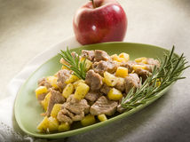 Veal stew with apple stock photos