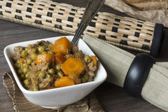Veal stew on wooden background Stock Photography