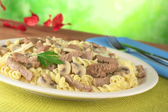 Veal Strips with Mushroom on Pasta Royalty Free Stock Photography