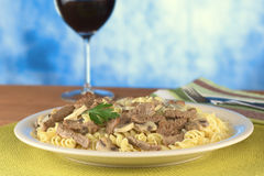 Veal Strips with Mushrooms on Pasta Stock Photography