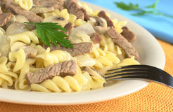 Veal Strips with Mushrooms on Pasta Royalty Free Stock Image