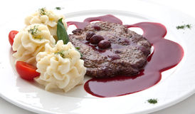 Veal under sweet sauce Royalty Free Stock Image