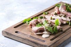 Veau avec le tonnato de vitello de sauce à thon Photo stock